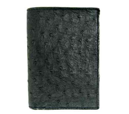 Genuine Ostrich Leather Wallet in Black Ostrich Skin  #OSM617W