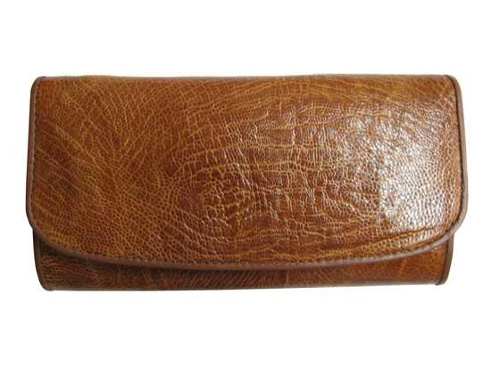 Genuine Ostrich Leather Clutch Wallet in Light Brown Ostrich Skin  #OSW621W