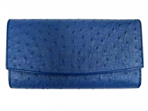 Genuine Ostrich Leather Clutch Wallet in Blue Ostrich Skin  #OSW623W