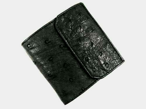 Genuine Ostrich Leather Coin Purse in Black Ostrich Skin  #OSW624W