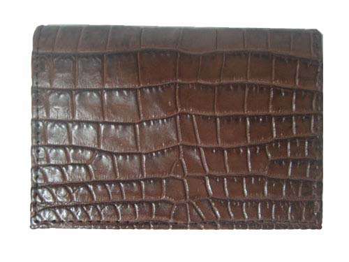 Genuine Belly Crocodile Leather Credit Card Wallet in Dark Brown Crocodile Skin  #CRM454W-03