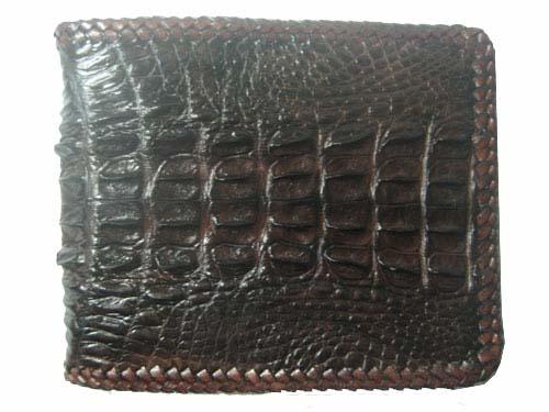 Genuine Crocodile Leather Wallet with Weave Style in Dark Brown Crocodile Skin  #CRM455W-01