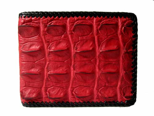 Genuine Crocodile Leather Wallet with Weave Style in Red Crocodile Skin  #CRM455W-08