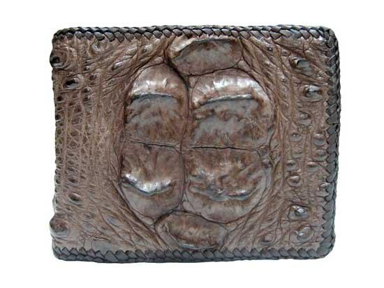 Genuine Hornback Crocodile Leather Wallet with Weave Style in Dark Brown Crocodile Skin  #CRM456W-03