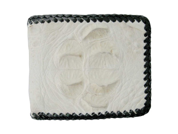 Genuine Hornback Crocodile Leather Wallet with Weave Style in White Natural Crocodile Skin  #CRM456W-06