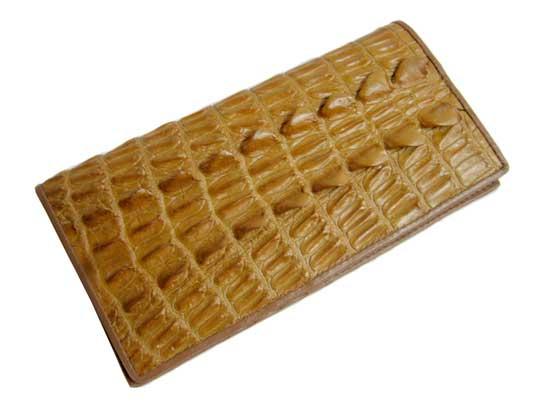 Ladies Crocodile Leather Passport Wallet in Yellow Brown Crocodile Skin  #CRW459W-04