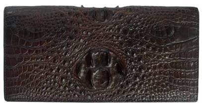 Ladies Crocodile Leather Passport Wallet in Dark Brown Crocodile Skin  #CRW459W-09