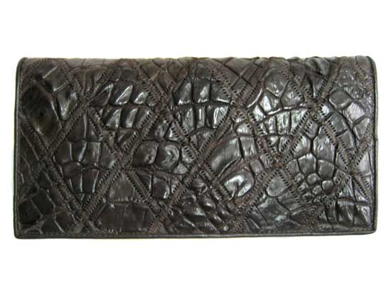 Ladies Crocodile Leather Passport Wallet in Chocolate Brown Crocodile Skin  #CRW459W-10