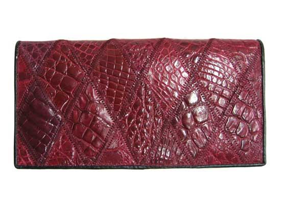 Ladies Crocodile Leather Passport Wallet in Red Crocodile Skin  #CRW459W-11