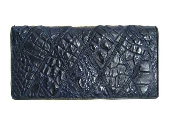 Ladies Crocodile Leather Passport Wallet in Blue Crocodile Skin  #CRW459W-12