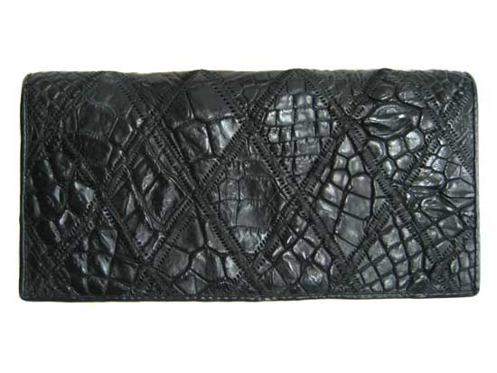 Ladies Crocodile Leather Passport Wallet in Black Crocodile Skin  #CRW459W-13