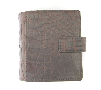 Genuine Belly Crocodile Leather Mini Wallet in Dark Brown Crocodile Skin  #CRM461W