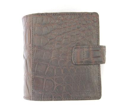 Genuine Belly Crocodile Leather Mini Wallet in Dark Brown Crocodile Skin  #CRM461W