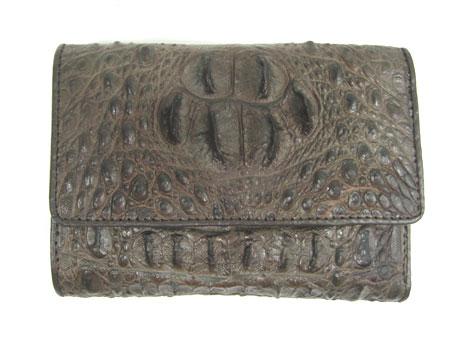 Ladies Hornback Crocodile Leather Mini Tri-fold Wallet in Chocolate Brown Crocodile Skin  #CRM462W-01