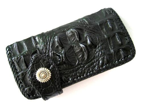 Biker Hornback Crocodile Leather Wallet with Weave Style in Black Crocodile Skin  #CRM463W-04