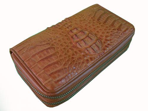 Ladies Crocodile/ Alligator Leather Wallet Purse in Light Brown(Tan) Crocodile Skin  #CRM465W-01