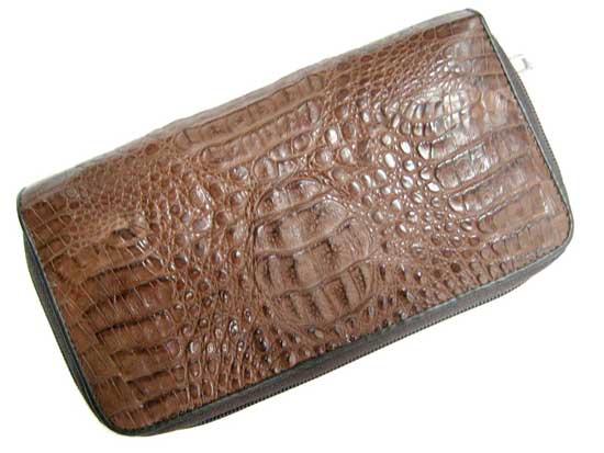 Ladies Crocodile/ Alligator Leather Wallet Purse in Dark Brown Crocodile Skin  #CRM465W-02