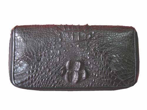 Ladies Hornback Crocodile Leather Wallet Purse in Black Crocodile Skin  #CRM465W-03