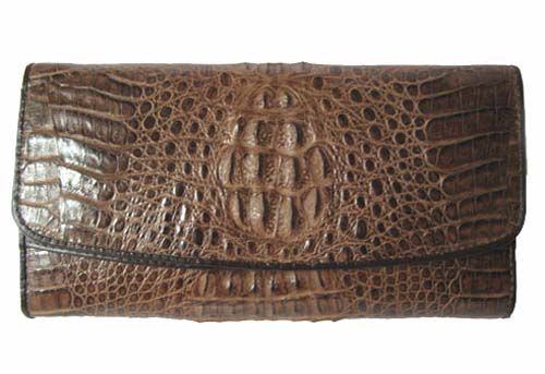 Ladies Crocodile/ Alligator Leather Clutch Wallet in Chocolate Brown Crocodile Skin  #CRM466W-01