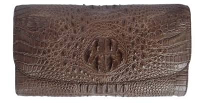 Ladies Crocodile Leather Clutch Wallet in Chocolate Brown Crocodile Skin  #CRW466W-03