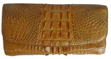 Ladies Crocodile Leather Clutch Wallet in Light Brown Crocodile Skin  #CRW467W-04