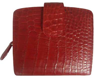 Ladies Belly Crocodile Leather Wallet in Red Crocodile Skin #CRM469W-03