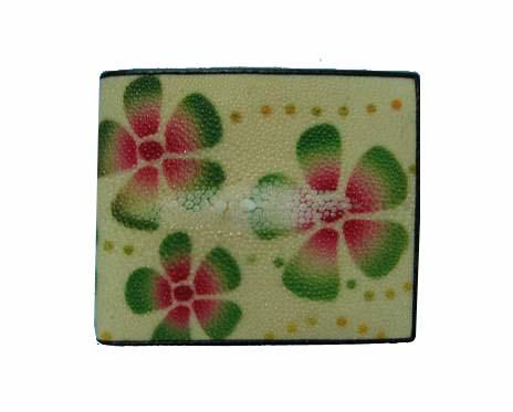 Genuine Stingray Leather Wallet in Flower Stripes Stingray Skin  #STW475W