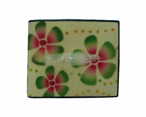 Genuine Stingray Leather Wallet in Flower Stripes Stingray Skin  #STW475W