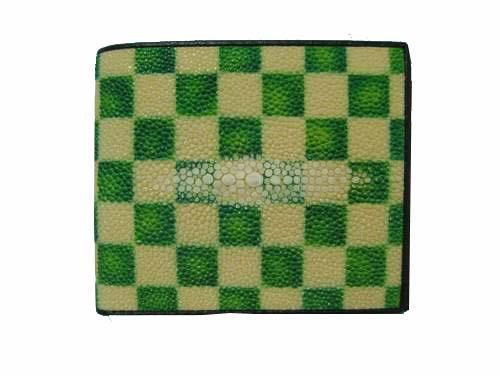 Genuine Stingray Leather Wallet in Green Stripes Stingray Skin  #STW476W