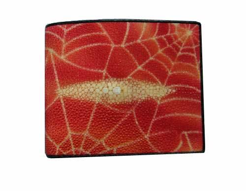 Genuine Stingray Leather Wallet in Red Spider Design Stingray Skin  #STW477W-02