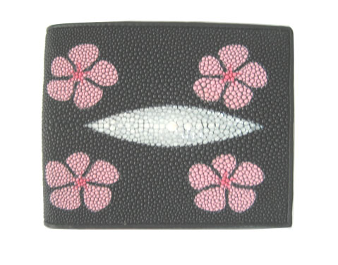 Genuine Stingray Leather Wallet in Pink Flower Design  #STW493W