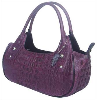Ladies Genuine Crocodile Leather Handbag in Purple Crocodile Skin #CRW251H-02