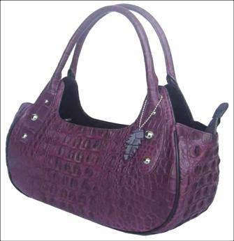 Ladies Genuine Crocodile Leather Handbag in Purple Crocodile Skin #CRW251H-02