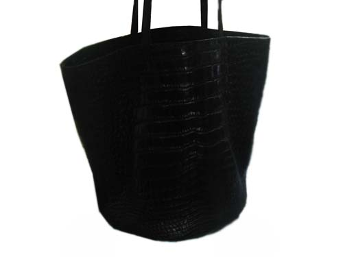 Genuine Belly Crocodile Leather Handbag in Black Crocodile Skin #CRW252H