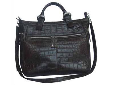 Genuine Belly Crocodile Leather Handbag in Chocolate Brown Crocodile Skin #CRW255H
