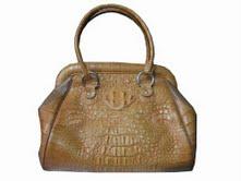 Genuine Hornback Crocodile Leather Handbag in Light Brown(Tan) Crocodile Skin #CRW256H-01