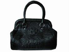 Genuine Hornback Crocodile Leather Handbag in Black Crocodile Skin #CRW256H-02