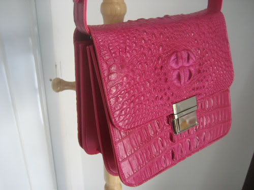 Genuine Siamese Crocodile Shoulder Bag in Pink Crocodile Leather #CRW301H-PI