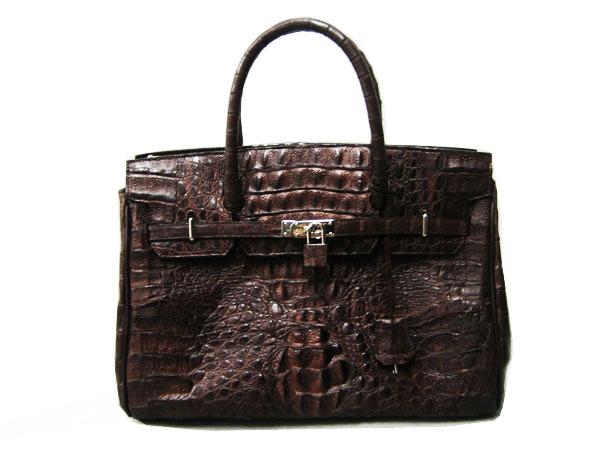 Genuine Hornback Alligator Crocodile Handbag in Dark Brown Crocodile Leather #CRW303H-BR