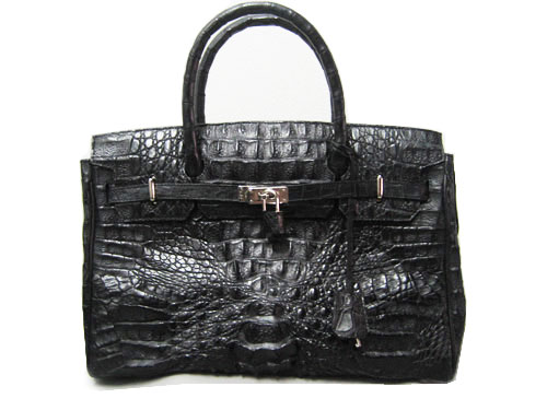 Genuine Hornback Alligator Crocodile Handbag in Black Crocodile Leather #CRW303H-BL
