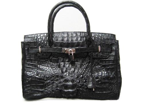 กระเป๋าสะพายหนังจระเข้แท้ไคแมนสีดำ #CRW303H-BL