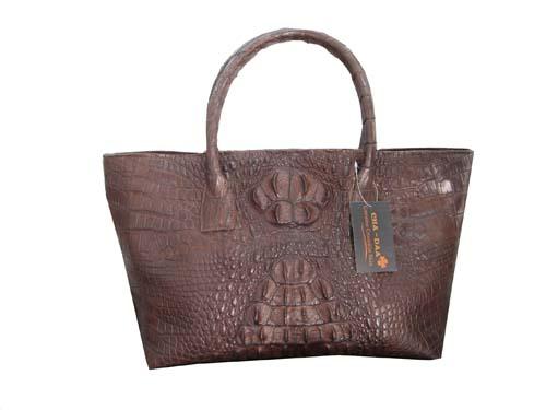 Genuine Hornback Crocodile Handbag in Chocolate Brown Crocodile Leather #CRW244H-BR