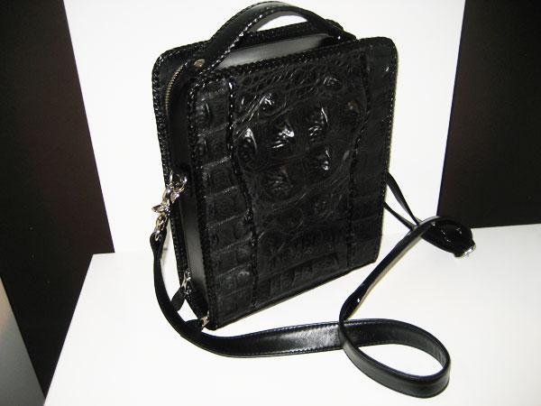 Genuine BIG Bone back Handbag/Shoulder bag in Black Crocodile Leather #CRW308H-BL