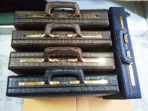 Genuine Belly Caiman Leather Briefcase in Black, Brown and Dark Blue  #CRM430BR-Invoice No. 002528