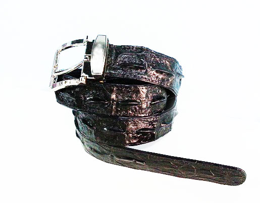 Black Crocodile Leather Belt 1.5 inches wide #CRM638B-BL-03