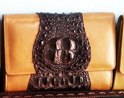Genuine Crocodile Leather Clutch Bag in Dark Brown  #CRW337H-BR-HEAD-02