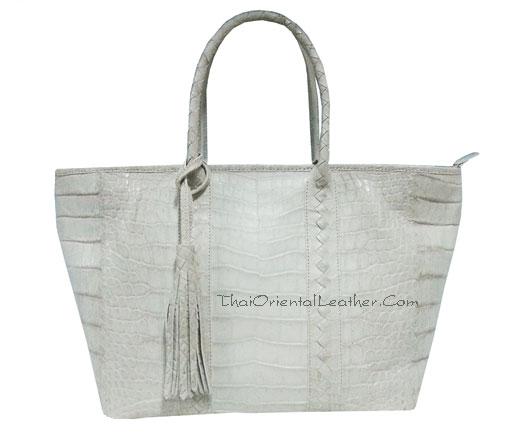 กระเป๋าหนังจระเข้แท้ สีขาวธรรมชาติ (หิมาลายัน: Himalayan) ส่วนท้อง #CRW342H-NA-BELLY