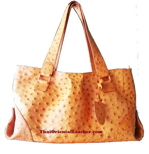 Genuine Ostrich Leather Handbag in Light Brown (Tan) #OSW330H-TA