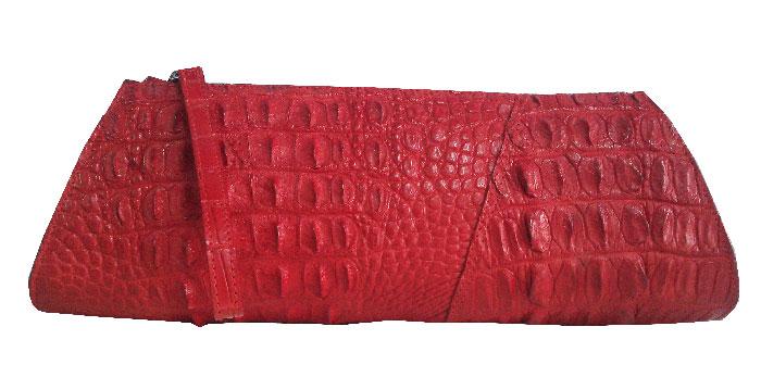 กระเป๋าหนังจระเข้แท้สีแดงส่วนหลัง #CRW329H-RE-BACK