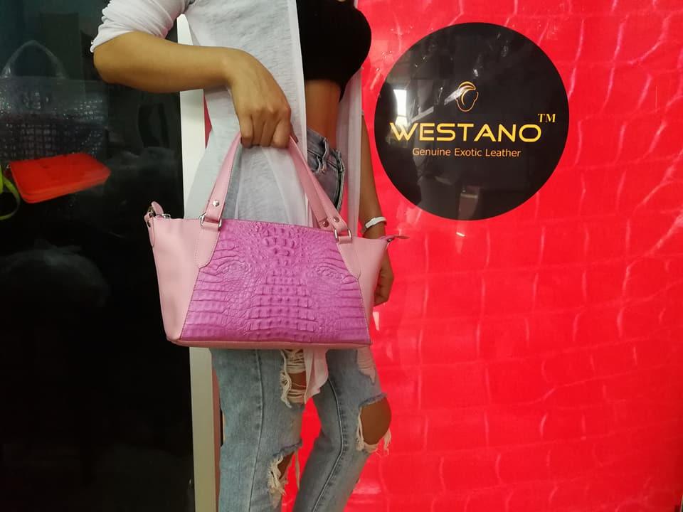 Crocodile Leather Handbag Pink #CRW1217W-10-PI1